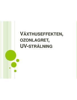 Växthuseffekten, ozonlagret och UV-strålning | Powerpoint