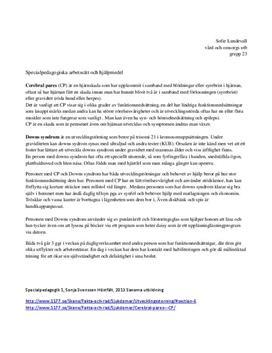Specialpedagogiska arbetssätt och hjälpmedel | Fördjupningsuppgift