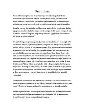 Feminism och Genus   Utredande text