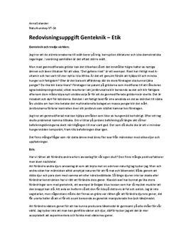 Genteknik och Etik   Inlämningsuppgift