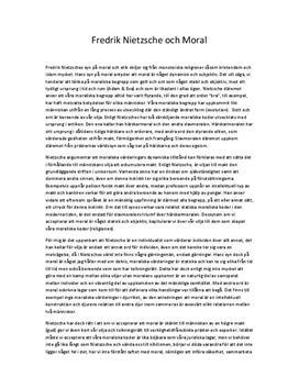 Fredrik Nietzsches syn på moral och etik | Fördjupningsuppgift