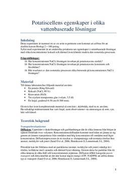 Potatis i lösning   Växtcellen och transportmekanismer   Labbrapport
