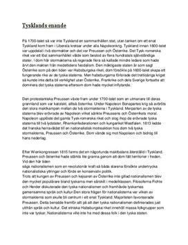 Tysklands enande under 1800-talet | Fördjupningsuppgift
