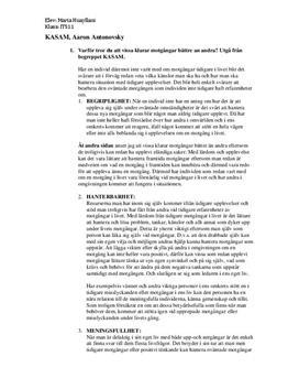 Motgångar och KASAM | Diskuterande text