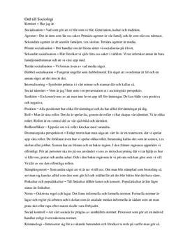 Sociologi | Sammanfattning av ord och begrepp