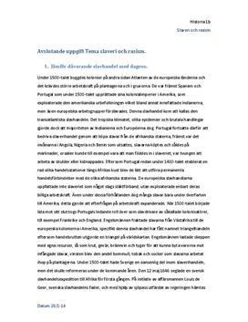 Slaveri och rasism   Utredande text