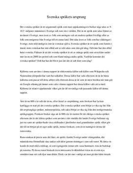 Svenska språkets ursprung | Essä
