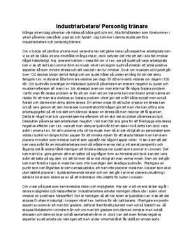 Arbetsmiljö - Industriarbetare / Personlig tränare   Inlämningsuppgift