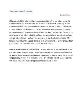 Las vacaciones de pascua | Spanska | Inlämningsuppgift