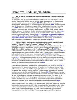 Hinduismen och Buddismen | Instuderingsfrågor