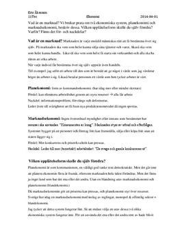Planekonomi och Marknadsekonomi | Instuderingsfrågor