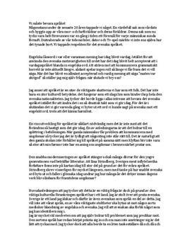 Bevara det svenska språket | Argumenterande text