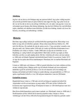 Fotbolls historia, regler och teknik | Fördjupningsarbete