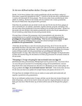 Skola i Sverige och Irak | Jämförande essä
