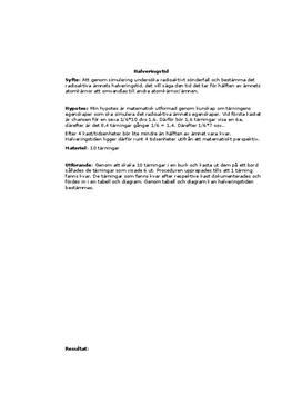 Halveringstid av radioaktivt sönderfall | Labbrapport