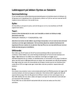 Framställning av ester genom syntes | Labbrapport