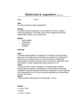 Elektricitet och magnetism | Labbrapport