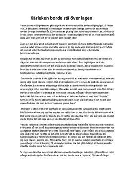Kärleken borde stå över lagen - homosexuella giftemål | Argumenterande text