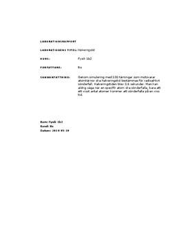 Halveringstid: Radioaktivt sönderfall | Labbrapport