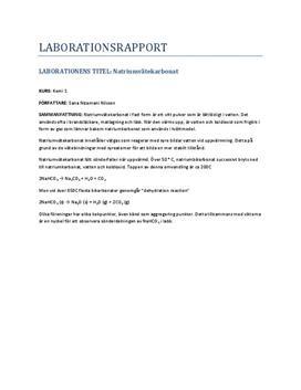 Sönderdelning av natriumvätekarbonat | Labbrapport