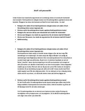 Straff- och processrätt | Inlämningsuppgift