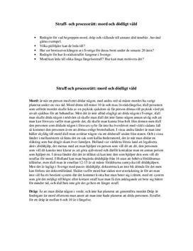 Straff- och processrätt: mord och dödligt våld | Utredande text