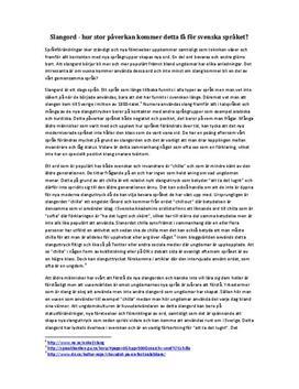 Slang och dess påverkan | Inlämningsuppgift