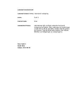 Harmonisk svängning - Fjäderkonstanten | Labbrapport