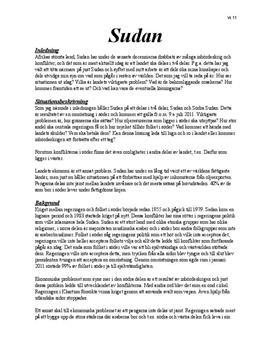 Konfliktanalys av Sudan   Inlämningsuppgift
