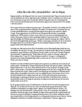 Mänskliga rättigheter & yttrandefrihet   Diskuterande text