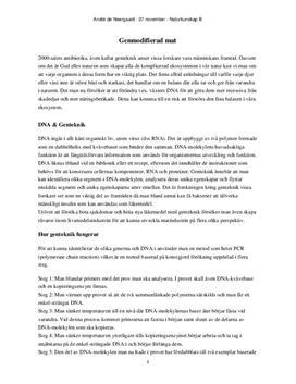 GMO - Genteknik och biologisk mångfald | Diskuterande text
