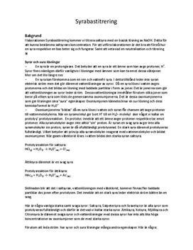 Syrabastitrering | HCl & NaOH | Labbrapport Kemi 1