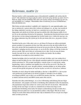 Matematikens relevans i samhället - statistik | Diskuterande text