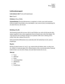 Tavlan och konjaksskupan | Labbrapport