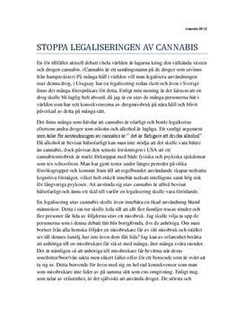 Stoppa legaliseringen av cannabis   Argumentrande text