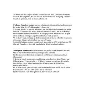 Mozart & Beethoven | Sammanfattning på tyska