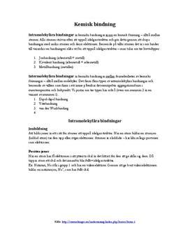 Kemisk bindning | Sammanfattning
