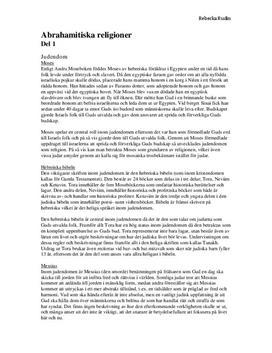 De abrahamitiska religionerna | Sammanfattning