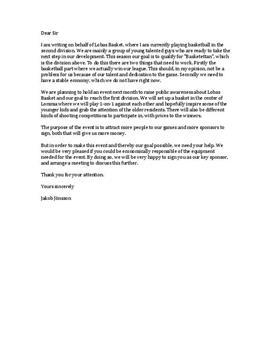 Formal Letter   Funding application   Brev