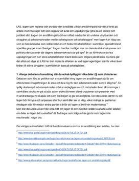 Debatt kring Lagen om anställningsskydd | Fördjupningsuppgift
