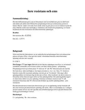 Inre resistens och ems | Labbrapport