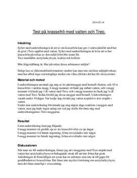Test med krassefrön och Treo | Labbrapport