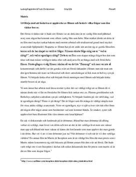 Matrix | Filosofi 1 | Frågor och svar