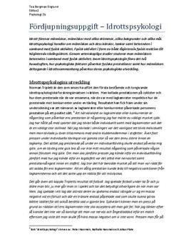 Idrottspsykologi | Fördjupningsuppgift