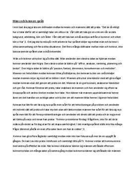 Manligt och kvinnligt språk | Utredande tal