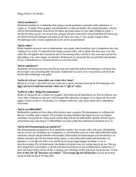 Sociologiska begrepp | Instuderingsfrågor