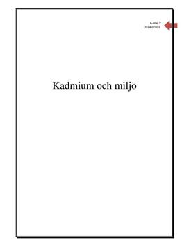 Kadmium i miljön   Fördjupningsarbete