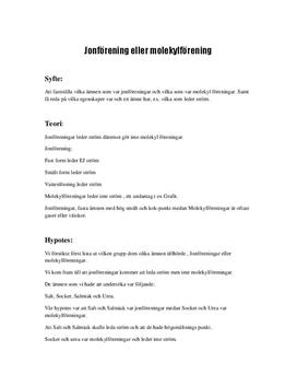 Jonförening eller molekylförening | Labbrapport