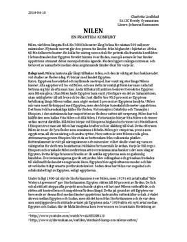 Nilen - källa till konflikt? | Fördjupningsuppgift