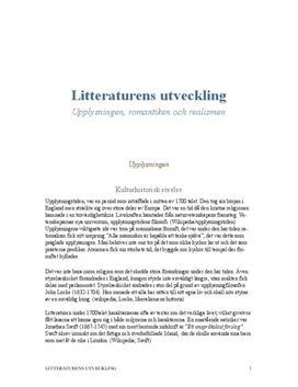 Litteraturens utveckling | Fördjupningsuppgift